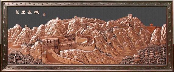 长城装饰浮雕制作中--天津长城雕塑