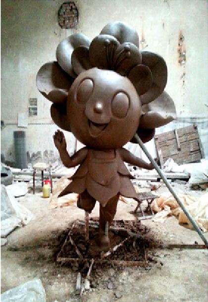 天津大学海棠花玻璃钢卡通雕塑
