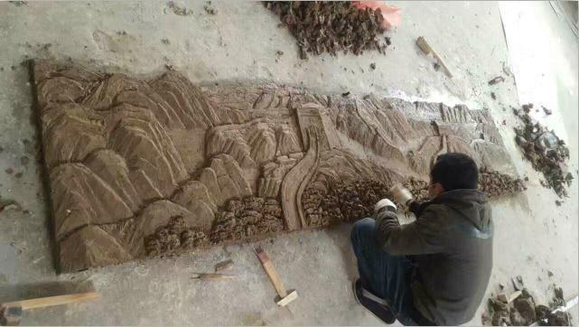 雕塑泥稿制作 长城浮雕 玻璃钢长城浮雕制作